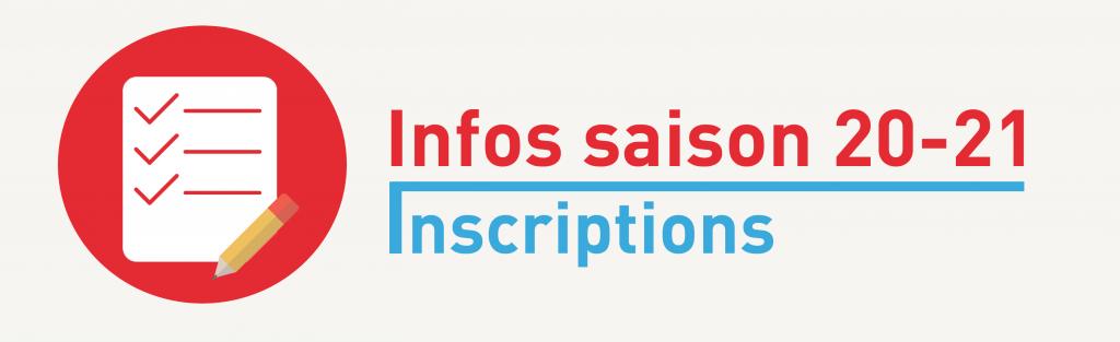 Infos saison 20-21 | Inscriptions